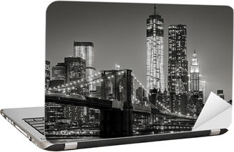Nálepka na Notebook New York v noci. Brooklynský most, Dolní Manhattan - Black