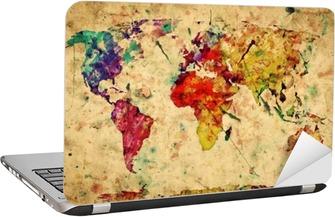 Nálepka na Notebook Vintage mapa světa. Barevný barva, akvarel na papíře grunge