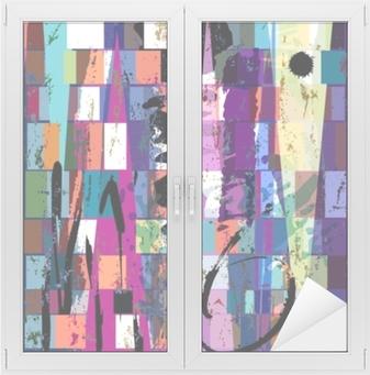 Nálepka na sklo a okna Abstraktní pozadí, s čtvercemi, trojúhelníkem, barvami a s
