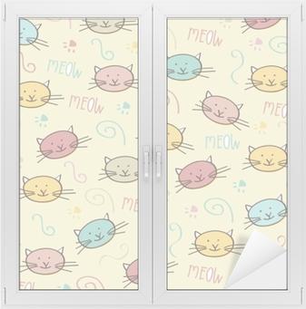 Nálepka na sklo a okna Bezešvé vzor s kočkami doodle