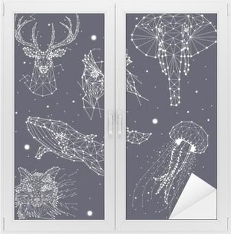 Nálepka na Sklo a Okna Sada konstelace, slon, sova, jeleni, velryby, medúzy, liška, hvězdy, vektorová grafika