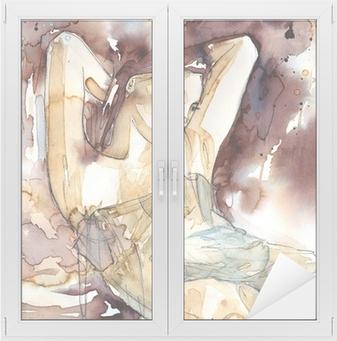 Nálepka na Sklo a Okna Žena s rukama za hlavou