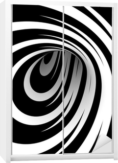 Nálepka na skříň Abstrakt černá a bílá spirála