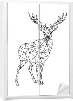 Nálepka na Skříň Low poly charakter jelenů. Designs for x-mas. Vánoční ilustrace v řadě umělecký styl. Samostatný na bílém pozadí.