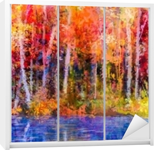 Olejomalba barevné podzimní stromy. semi - abstraktní obraz lesa 52e22e713e