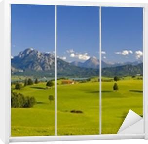 Nálepka na Skříň Panorama krajiny v Bavorsku Alp