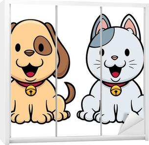 Obraz Na Platne Vektorove Ilustrace Kreslena Kocka A Pes Pixers