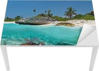 Nálepka na Stůl a Pracovní Stůl Karibské moře krajina s zelená želva v Mexiku