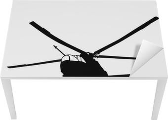 Nálepka na stůl a pracovní stůl Mi-24 (Hind) vrtulník silueta