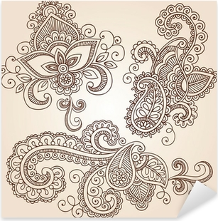 Nálepka Pixerstick Ozdobený Henna Paisley Doodle prvky vector design