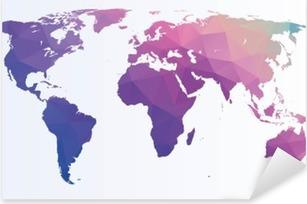 Nálepka Pixerstick Polygonální mapa světa