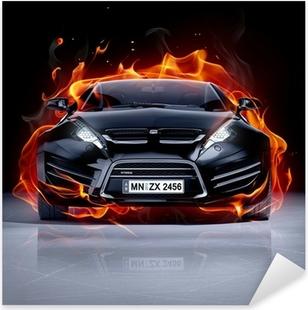 Nálepka Pixerstick Požární auto na ledu. Brandless sportovní vůz.