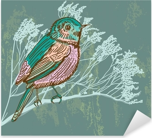 Nálepka Pixerstick Přírodní pozadí s ptáky