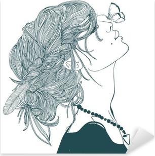 Nálepka Pixerstick Profil krásná žena s motýla
