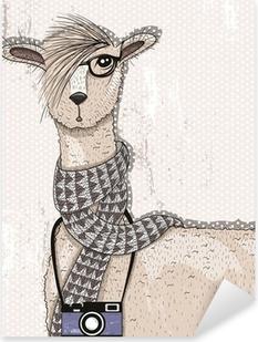 Nálepka Pixerstick Roztomilý bederní lama s fotoaparátem, brýle a šátek