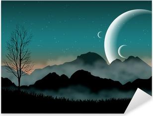 Nálepka Pixerstick SF prostor noční oblohy se siluetou hor a blízké planety
