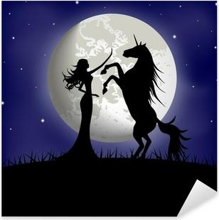 Nálepka Pixerstick Silueta krásné dívky a jednorožec na pozadí Měsíci