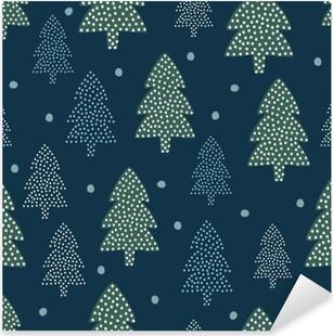 Nálepka Pixerstick Vánoční vzorek - Xmas stromy a sníh. Šťastný Nový Rok přírodě bezproblémové pozadí. Forest design pro zimní dovolenou. Vektorové zimní dovolenou tisk na textil, tapety, textilie, tapety.