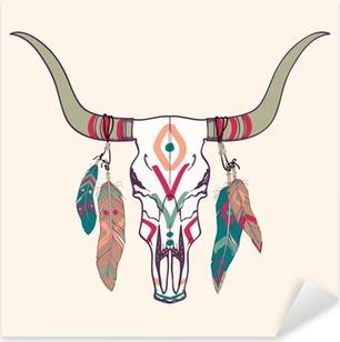Nálepka Pixerstick Vektorové ilustrace býčí lebky s peřím
