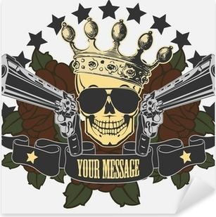 Nálepka Pixerstick Vektorové znak s lebkou a pistole