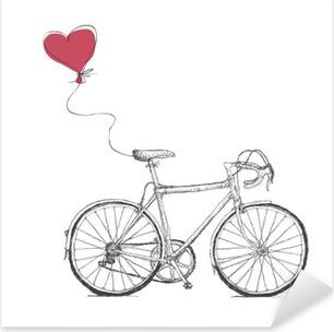 Nálepka Pixerstick Vintage ilustrace Valentýnky kol a srdce balónem