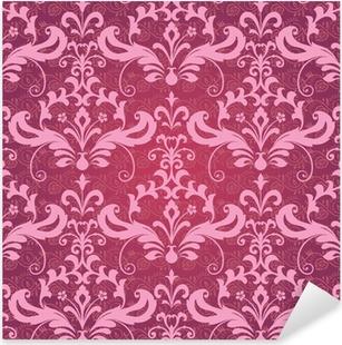 Nálepka Pixerstick Vintage klasické ornamentální bezešvé tapety v červené a růžové