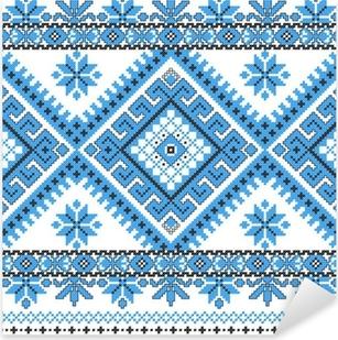 Nálepka Pixerstick Vyšívané dobré jako ruční cross-stitch vzor Ukrajina