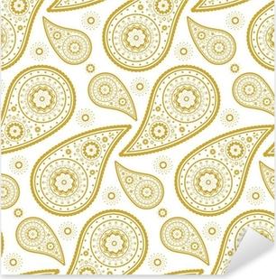 Nálepka Pixerstick Vzor paisley zlatá a bílá