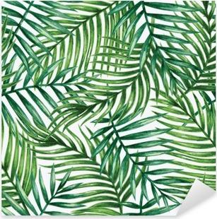 Nálepka Pixerstick Watercolor tropical palm leaves seamless pattern. Vector illustration.
