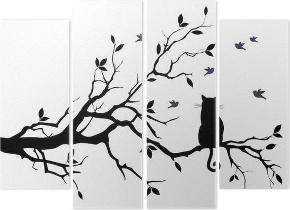 Kissa puussa linnuilla, vektori Neliosainen - Tiede Ja Luonto