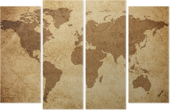 Maailman kartta tekstuuri taustalla Neliosainen