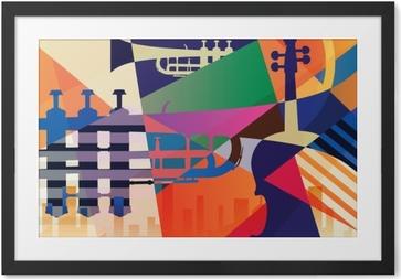 Obrazek w ramie Abstrakcyjny plakat jazzowy, tło muzyczne