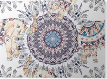 Obraz na Aluminium (Dibond) Akwarela etniczne pióra streszczenie mandali.