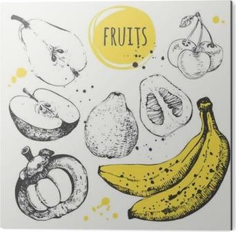 Obraz na Aluminium (Dibond) Banan, mangostan, jabłko, bergamotka. Ręcznie rysowane zestaw ze świeżą żywnością.
