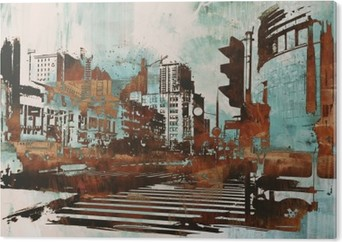 Obraz na Aluminium (Dibond) Cityscape z abstrakcyjnego grunge, ilustracja malarstwo
