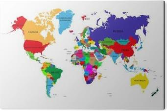 Plakat Kolorowe Mapa Swiata Polityczna Z Nazwami Panstw