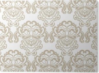 Obraz na Aluminium (Dibond) Wektor kwiatowy barok adamaszku ornament wzór elementu. elegancka luksusowa tekstura dla tła tekstylnego, tkanin lub tapet. kolor beżowy