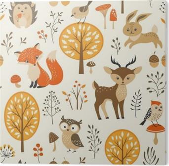 Obraz na Hliníku (Dibond) Podzimní les bezešvé vzor s roztomilými zvířaty