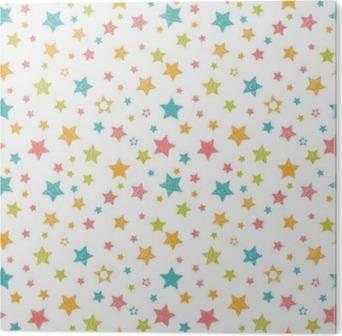 Obraz na Hliníku (Dibond) Roztomilý bezproblémové vzorek s hvězdami. Stylový tisk s rukou vypracován