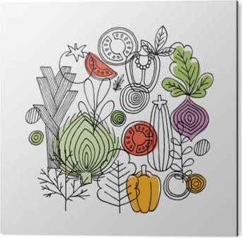 Obraz na Hliníku (Dibond) Zeleninové složení. lineární grafika. zeleniny pozadí. skandinávský styl. zdravé jídlo. vektorové ilustrace
