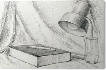 Obraz na PCV Martwa natura z książki, techniki ołówka