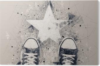 Obraz na PCV Młody człowiek na drodze z nadrukiem w kształcie gwiazdy