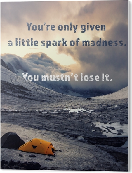 Obraz na PCV You're only given a little spark of madness. You mustn't lose it. - Motywacyjne