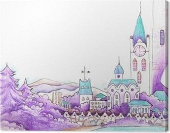 Obraz na plátně Abstraktní fiktivní město s pohádkovými domy. kresba v  tyrkysově fialové na bílém 8f74998b865