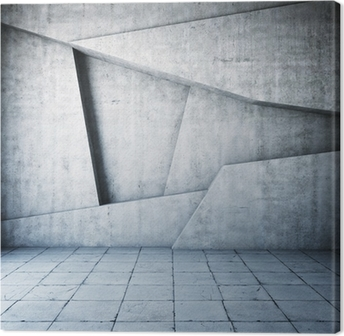 c2a583119c Obraz na plátně Abstraktní tmavě beton 3d interiér s polygonálním ...