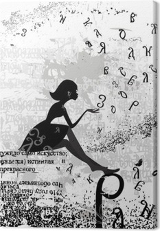 Obraz na plátně Abstraktní konstrukce s textem dívka grunge