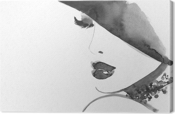 Obraz na plátně Abstraktní ženská tvář. módní ilustrace. - Lidé