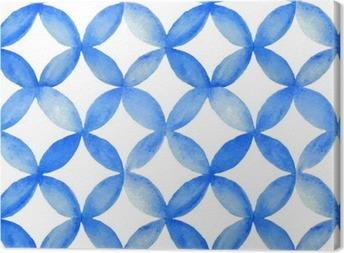 Obraz na Plátně Akvarel modré japonský vzor.