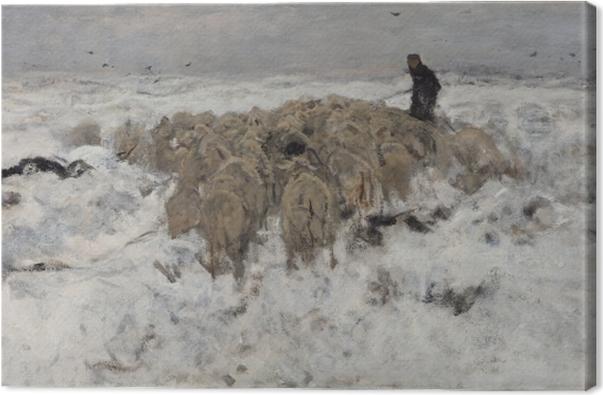 Obraz na plátně Anton Mauve - Стадо овец с овчаркой в снеге - Reproductions