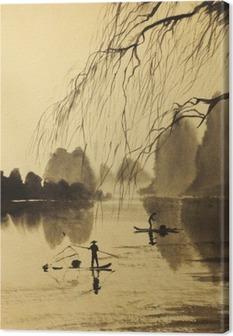 Obraz na plátně Asijské hory a jezero